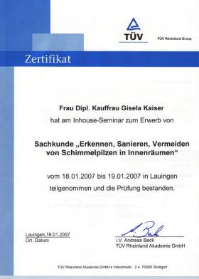 Kaiser | ÖkoSchimmelbeseitigung Zertifikat